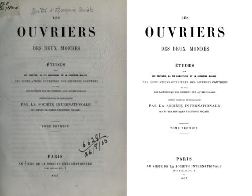 A gauche une page de titre en couleur, à droite une page de titre en noir ou blanc sur laquelle on a retiré les mentions manuscrites due à la conservation du volume en bibliothèque.